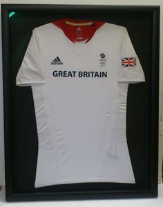 Team GB hockey shirt worn by James Tindall at London 2012 Olympics.  Simply framed in a black frame and mount.  #TeamGB #2012 #2012Olympics #Olympics #shirtframing #sport