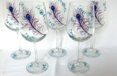 Peacock wedding glasses 1 glass Bride and by WaterfallDesigns, $13.00