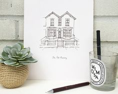 House Illustration, Personalized Wedding Gifts, Etsy Store, Bookends, How To Draw Hands, Stationery, Greeting Cards, Diy Crafts, Unique Jewelry
