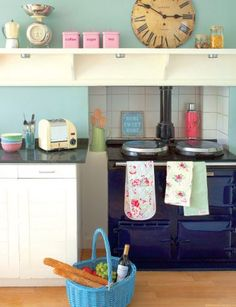 37 Unusual Retro Kitchen Design Ideas With Splash Of Colors To Have - This retro-style kitchen was decorated around its magnificent refrigerator that is so immediately redolent of the The base units were painted t. Duck Egg Blue Kitchen, Aqua Kitchen, Pastel Kitchen, Kitchen Colors, Happy Kitchen, Fall Home Decor, Home Office Decor, Kitchen Interior, Kitchen Decor