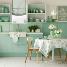 Minty green kitchen Bring a cool vibe into your kitchen with a fresh minty green shade. Paint cabinets and panelling in the same hue for a uniform look. Paint The Little Greene Paint Company Read more at http://www.housetohome.co.uk/room-idea/picture/green-kitchen-colour-ideas-10-of-the-best#to4svIU2RVP556Ge.99