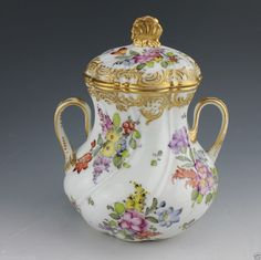 Antique Hand Painted French Porcelain Covered Sugar Bowl Boudrois and Bloch #BoudroisandBloch