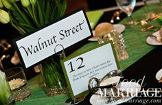 Wedding Table Name and Number Idea: Naming tables after favorite places - Walnut Street in West Chester, PA - @BA Haggerty / FoodMarriage.com