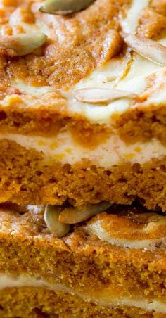 Here's a simple recipe for pumpkin cream cheese swirl bars. They're fun and festive for Fall gatherings and parties, not to mention so easy! Apple Recipes, Pumpkin Recipes, Fall Recipes, Holiday Recipes, Healthy Dessert Recipes, Easy Desserts, Delicious Desserts, Pumpkin Cream Cheeses, Good Food
