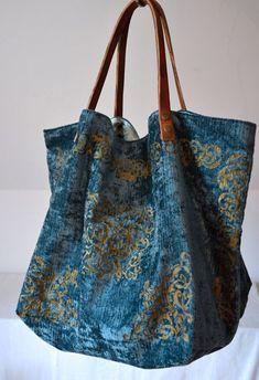 Items similar to large tote velvet bag extra big shopping bag oversized handbag turquoise velvet bag for her on Etsy - Hobo Handbags, Purses And Handbags, Hobo Purses, Luxury Handbags, Extra Large Tote Bags, Oversized Handbags, Diy Sac, Boho Bags, Fabric Bags