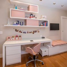 Escrivaninha branca: 60 modelos para decorar seu escritório com classe Home Office Design, Home Office Decor, Home Decor, Office Desk, Study Room Decor, Bedroom Decor, Girl Bedroom Designs, Girls Room Design, Aesthetic Rooms