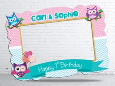 Owl birthday party photo booth frame DIGITAL FILE 28x40 by htcknit