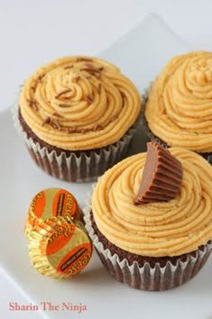 Dark Chocolate and Peanut Butter Cupcakes