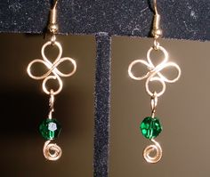 4 leaf clover earrings with emerald green Swavorski beads on gold tone brass. $20.00
