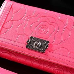 Fashion Chanel iPhone 6 Case Luxury Camellia Print Wallet Cover Magenta - LeatheriPhone6Cases.com