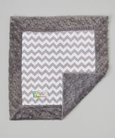 Love this 15'' x 15'' Gray & White Chevron Minky Lovey by Polka Dot Moon on #zulily! #zulilyfinds