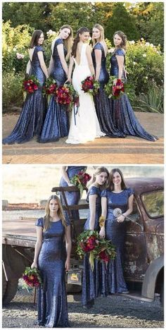 Charming Popular Cap Sleeve Round Neck Royal Blue Sequin Mermaid Long Bridesmaid Dresses, WG61