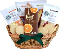 Greet the season with love, laughter and Starbucks Love the four varieties of Starbucks coffee: rich French Roast, smooth Breakfast Blend, soothing House Blend and intense Caffè Verona. Starbucks Gift Baskets, Coffee Gift Baskets, Gourmet Gift Baskets, Gourmet Gifts, Starbucks Mugs, Food Gifts, Organic Chocolate, Chocolate Gifts, Tea Gifts