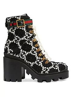 Gucci Women Ankle Boot on YOOX. The best online selection of Ankle Boots Gucci. YOOX exclusive items of Italian and international designers - Secure payments Platform Ankle Boots, Black Ankle Boots, Leather Ankle Boots, Combat Boots, Black Heels, Snake Print Boots, Leopard Print Boots, Tweed, Timberland Stiefel Outfit