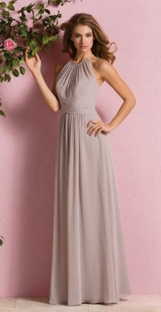 A beautiful Poly Chiffon bridesmaid dress made by Jasmine Bridal Style: Shown in Taupe. Available in all Poly Chiffon colors. Jasmine Bridesmaids Dresses, Bridesmaid Dress Styles, Bridal Dresses, Prom Dresses, Bohemian Bridesmaid, Woman Dresses, Wedding Bridesmaids, Bridal Reflections, Jasmine Bridal