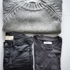 Outfit inspiration: greyscale Torino knit, Arizona black and Drest sweater