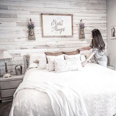 Our White Wash Wall Boards add character to this all white bedroom. Photo by Wea… Our White Wash Wall Boards add character to this all white bedroom. Photo by Weaber Brand Rep Kelly Ballard, on IG at citygirlmeetsfarmboy Pallet Wall Bedroom, Accent Wall Bedroom, Wood Bedroom, Bedroom Decor, Bedroom Headboards, Accent Walls, Ship Lap Accent Wall, Feature Wall Bedroom, Bedroom Ideas
