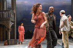Scarlett Brookes as Bianca and Ken Nwosu as Gentleman of Cyprus in Othello. Photo by Keith Pattison.