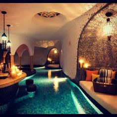 Indoor basement swimming pool - usually i think indoor swimming pools are ridiculous, but this one is kind of magical...