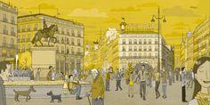 La puerta del Sol (Madrid) con la publicidad Tío Pepe en lo alto