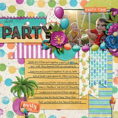 Party - Scrapbook.com | credits:  Summer's Calling {Party} by Digilicious Design  and  Sew Crafty Template by Connie Prince (retired)