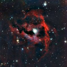 The Rich Colours of a Cosmic Seagull.  This image from ESO's La Silla Observatory shows part of a stellar nursery nicknamed the Seagull Nebula. This cloud of gas, known as Sh 2-292, RCW 2 and Gum 1, seems to form the head of the seagull and glows brightly due to the energetic radiation from a very hot young star lurking at its heart. The detailed view was produced by the Wide Field Imager on the MPG/ESO 2.2-metre telescope.