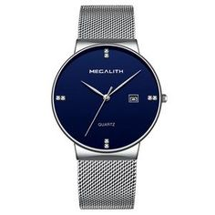 Megalith Mens Steel Quartz Watch A great timepiece from Megalith with a durable Stainless Steel Strap. This Casual Mens Watch features an Analog Display, Calendar and Reliable Quartz Movement. Buy Megalith Watches from Watchmont! Cheap Watches, Cool Watches, Watches For Men, Men's Watches, Watches Online, Stylish Watches, Wrist Watches, Fashion Watches, Casual Watches