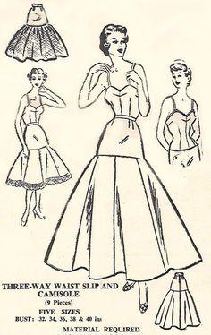 """Vintage 1950's Sewing Pattern 3-Way Waist Slip & Camisole Rockabilly B 34"""" -36"""""""