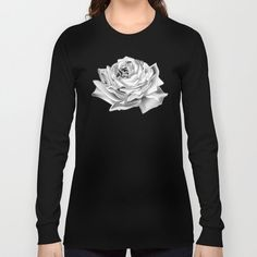 Buy Black n White Rose Long Sleeve T-shirt by augustinet. Worldwide shipping available at Society6.com. Just one of millions of high quality products available. Black N White, White Roses, Hoodies, Sweatshirts, Shirt Dress, T Shirt, Printed Shirts, Clothes For Women, Long Sleeve
