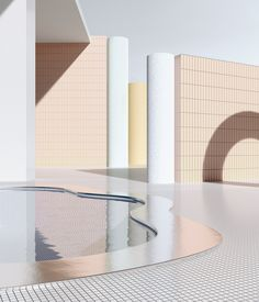 Cape Town artist Alexis Christodoulou creates rendered modernist interiors from his imagination – enter into his surreal, pastel-hued world Terrazzo, My Pool, Interior Design Tips, Pool Designs, Interior Architecture, Interior Rendering, Architecture Sketches, 3d Rendering, Color Inspiration