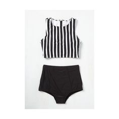 Athletic Good Volley, Miss Molly! Swimsuit Top ($50) ❤ liked on Polyvore featuring swimwear, bikinis, bikini tops, black swimsuit top, swimsuits tops, swim suit tops, black swim top and black and white stripe bikini