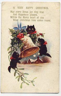 BLACK  CATS  HOLLY  MISTLETOE   CHRISTMAS   INTER-ART  OLD  POSTCARD  1922