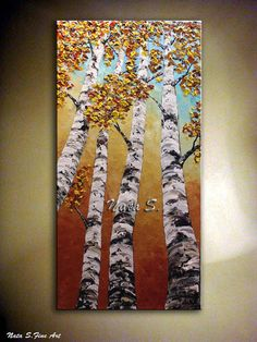 Original Contemporary Fall Birch Trees Painting on canvas by Nata, Large Artwork for your Home & Office Decor   To view more of my unique signature art please click here: www.etsy.com/shop/NataSgallery?ref=pr_shop_more  Title: Looking up 4  size: 48 x 24 MEDIUM: Acrylic.Impasto  DOMINANT COLORS: White,Blue,Yellow,Beige,Black,Red.....  CANVAS: 1 Gallery Wrapped Canvas,the sides painted in black.  A final coat of high quality varnish has been applied to protect the surface of this painting…