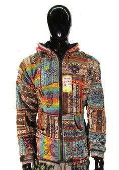 Long Warm Hippie Jacket Hoodie Black Rainbow Coat Fleece Lined Pixie Hood Boho Bohemian Cotton Winter Festival Cozy Wizard Jacket