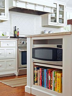 Kitchen Island with Microwave inside. I hate having it on the counter top and above the stove tends to always get dirty.