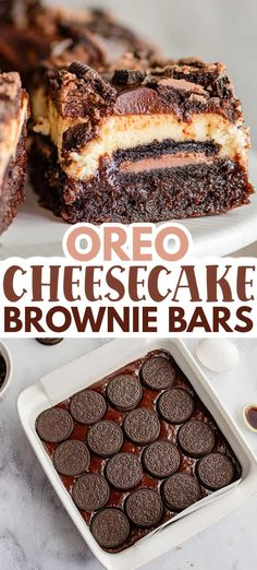 Oreo Cheesecake Brownie Bars - This Oreo Cheesecake Brownie Bars Recipe is the ultimate chocolate lovers dessert. These bars have a brownie bottom, chocolate-filled Oreos, a creamy vanilla cheesecake, and topped with a silky chocolate ganache all in one sliceable dessert. They're the perfect decadent cheesecake bar recipe to serve up! #cookiedoughandovenmitt #desserts #brownies Chocolate Filling, Chocolate Lovers, Chocolate Ganache, Chocolate Cheesecake Brownies, Best Brownies, Brownie Recipes, Cake Recipes, Peppermint Cheesecake, Oreos