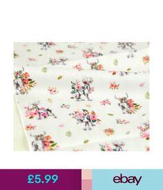 Fabric Mini Flower Deer 100% Cotton Fabric By Half Yard Floral Elk Animal Deers Ffb351+ #ebay #Home & Garden