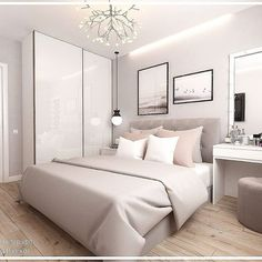 Welchen Raum in diesem Projekt magst du mehr? - Which room in this p Room Ideas Bedroom, Small Room Bedroom, Home Decor Bedroom, Small Modern Bedroom, Bedroom Apartment, Home Room Design, Design Bedroom, Stylish Bedroom, Aesthetic Bedroom