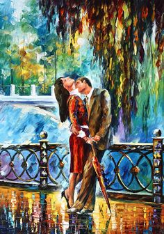 Title: Kiss After The Rain New  Artist: Leonid Afremov  Medium: Painting - Oil On Canvas With A Palette Knife