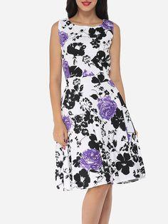 #AdoreWe #FashionMia Skater Dresses - FashionMia Floral Printed Exquisite Round Neck Skater-dress - AdoreWe.com