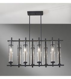 Feiss Ethan 8 Light Linear Chandelier in Antique Forged Iron and Brushed Steel F2630/8AF/BS #lightingnewyork #lny #lighting