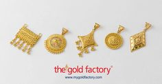 From left : katai-topa work ; sunrise wire and katai work ; chowmein ; pat and ball ; Manipuri work. Five different kinds of karigari, dour distinct shapes, all in natural yellow 22K hallmarked gold. Just a sampling of the variety of pretty pendants available at your very own Gold Factory.