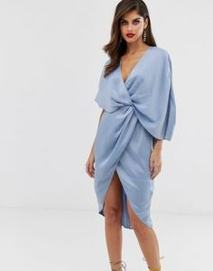 bf460680d ASOS DESIGN midi dress in satin with asymmetric kimono sleeve