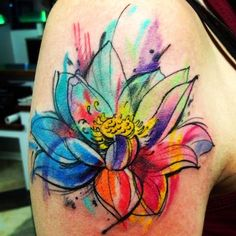 lotus+tattoo+design+on+sleeve+-+watercolor+tattoo+ideas+for+men+and+women.jpg (450×450)