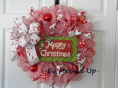 "Deco Mesh Christmas Wreath with a tin ""Merry Christmas"" sign and an ELF!"