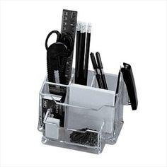 """PORTAOGGETTI DA TAVOLO """"PLEXY""""  Desk-set in plexiglass completo di accessori Desk-set da tavolo, accessori inclusi"""