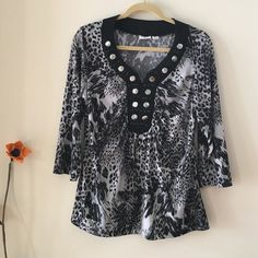 Cato Top Animal prion black and gray. Neckline is the show area, in silver studs and black beads. Sleeves are 3/4, Excellent condition Cato Tops Blouses