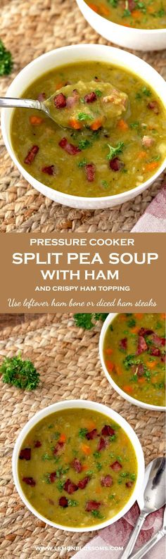 This Pressure Cooker Split Pea Soup can be made with leftover ham bone or with any ham steak. Cut the cooking time in half by cooking it in a pressure cooker (Instant Pot) and enjoy this easy and warming soup any day of the week! Top it with some crispy ham for extra texture. Freezes well!! #instantpot #soup #comfortfood #splitpea #glutenfree via @lmnblossoms