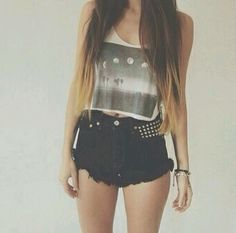 Moon Phases Crop Top And Black Studded High Waisted Shorts