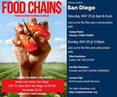 Catch the 5pm screening of Eva Longoria's Food Chains today (Sun, Nov 30)! IN PERSON & q&a w/ food systems author, Ellen Gustafson, Luzman Vigil from North County Health Services/Feeding America, & Caroline Chambers - Chef/Founder from Cucina Coronado. Only at Digital Gym CINEMA in North Park. Tickets, Trailer & info http://digitalgym.org/food-chains/
